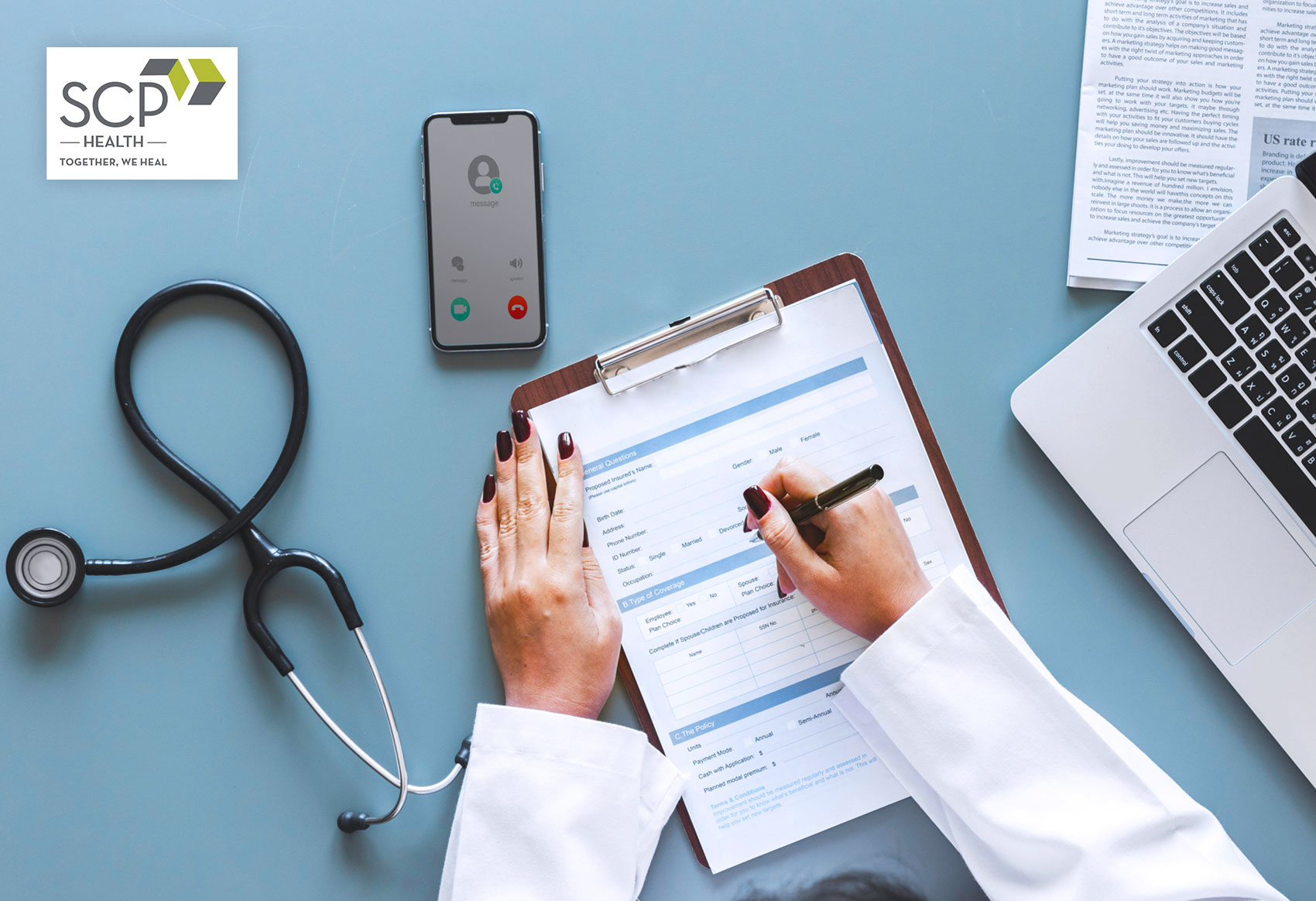 sm-scp-health-overview-of-items-on-female-doctors-desk